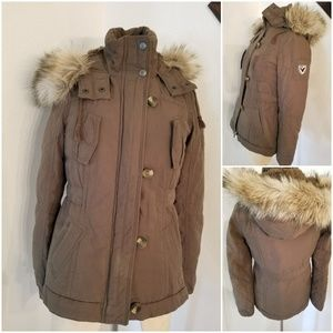 AEO Fur Lined Hooded Military Jacket Army Green